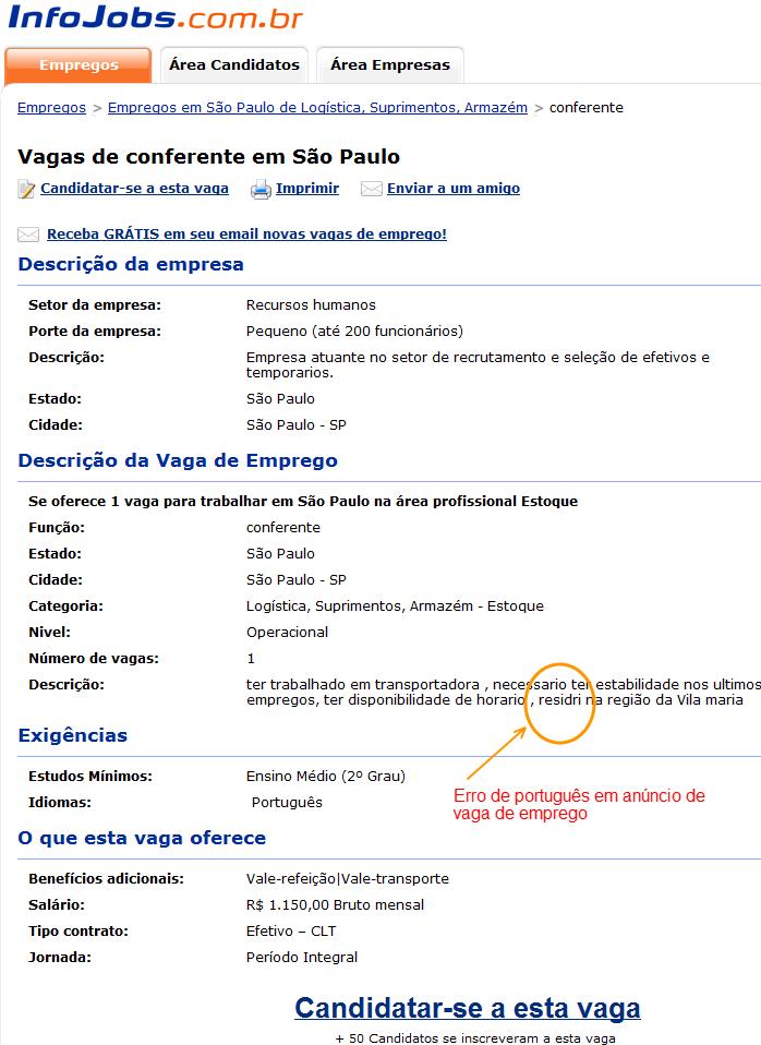 erro de português em anúncio de vaga de emprego